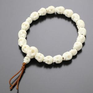 数珠ブレスレット 髑髏彫り 水牛骨 ボサ付き 腕輪念珠|nenjyu