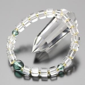 数珠ブレスレット キューブ型 本水晶(小) グリーンクォーツ