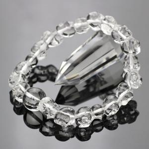 数珠ブレスレット 髑髏彫り(中) 本水晶 腕輪念珠 メンズ 男性用|nenjyu