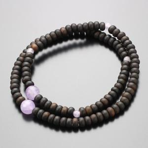 数珠ブレスレット 108玉 縞黒檀 藤雲石 腕輪念珠|nenjyu