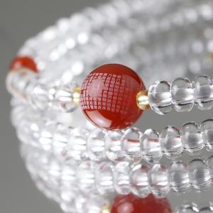 数珠ブレスレット 108玉 心経一玉彫刻 瑪瑙 本水晶 天然石