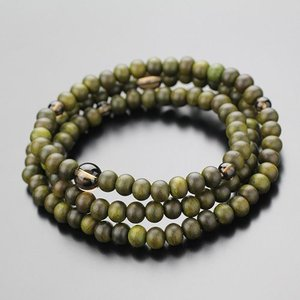 数珠 ブレスレット 緑檀 茶水晶  3重 108玉 木製|nenjyu