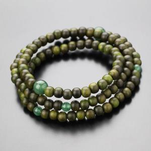 数珠ブレスレット 108玉 3重 緑檀 印度翡翠 腕輪念珠|nenjyu