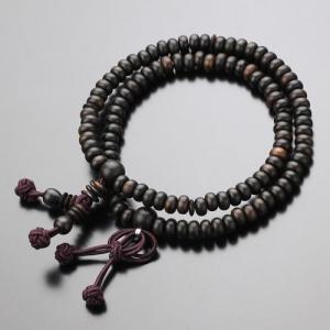 数珠ブレスレット 108玉 浄土真宗 縞黒檀 木製|nenjyu