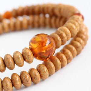 数珠ブレスレット 108玉 みかん玉 天竺菩提樹 琥珀|nenjyu