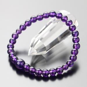 数珠ブレスレット 約6ミリ 紫水晶 天然石 レディース