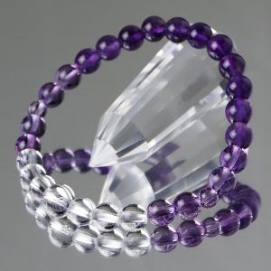 数珠ブレスレット 紫水晶 本水晶 グラデーション 約7ミリ 腕輪念珠|nenjyu