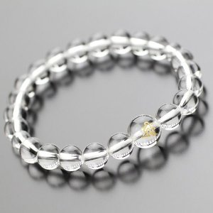 パワーストーン 数珠ブレスレット 守り本尊梵字彫り(約10ミリ・本水晶) 約8ミリ 本水晶 腕輪念珠 彫刻 メンズ レディース|nenjyu
