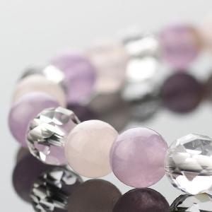 パワーストーン 数珠 ブレスレット 6ミリ ラベンダーアメジスト・ローズクォーツ・カット水晶|nenjyu