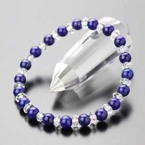 パワーストーン 数珠 ブレスレット 6ミリラピスラズリ ボタンカット水晶|nenjyu