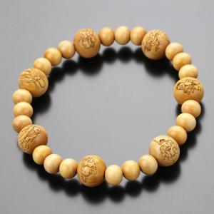 数珠ブレスレット 七福神彫り 柘植 木製|nenjyu
