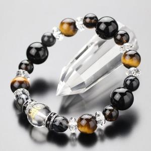 パワーストーンブレスレット ブレス  数珠 12ミリ梵字入り水晶・オニキス 10ミリタイガーアイ 8ミリ天眼石・スモーキークォーツ|nenjyu