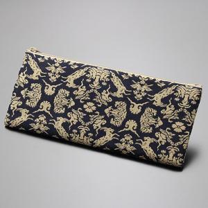 数珠袋/数珠入れ 名物裂 綿ペンケース型<風通山羊紋>|nenjyu