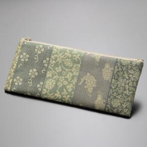 数珠袋/数珠入れ 名物裂 綿ペンケース型<横段・グリーン>|nenjyu
