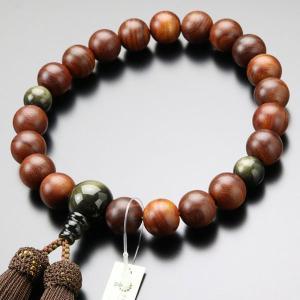数珠 男性用 紫檀 (艶消し) 金黒曜石 20玉 正絹房 数珠袋付き|nenjyu