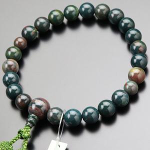 数珠 男性用 22玉 ブラッドストーン 正絹2色房 略式数珠 京念珠 数珠袋付き|nenjyu