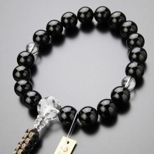 数珠 男性用 18玉 黒オニキス 龍彫り水晶 紐房 数珠袋付き|nenjyu