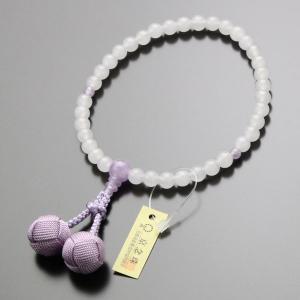 数珠 女性用 約7ミリ 白オニキス 藤雲石 小田巻梵天房|nenjyu