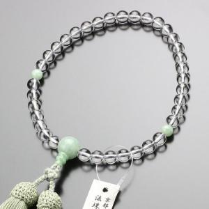 数珠 女性用 甲府磨き 本水晶 ビルマ翡翠 約7ミリ 正絹房 法珠庵・吉村珠道作 数珠袋付き|nenjyu