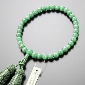 数珠 女性用 約8ミリ 上質 ビルマ翡翠 正絹2色房 数珠袋付き 京念珠 nenjyu
