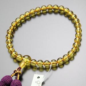 鑑別書付き 数珠 女性用 約8ミリ 本琥珀 正絹房 数珠袋付き nenjyu