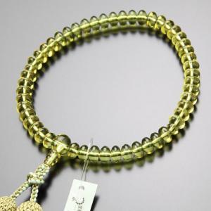 鑑別書付き 数珠 女性用 みかん玉 グリーンアンバー 琥珀 正絹2色房 数珠袋付き nenjyu