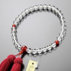 数珠 女性用 約8ミリ 本水晶 瑪瑙 正絹房|nenjyu