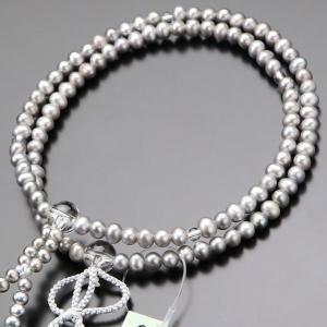 浄土真宗 数珠 女性用 8寸 淡水パール(グレー) 正絹2色房 数珠袋付き|nenjyu