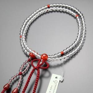 浄土真宗 数珠 女性用 8寸 本水晶 瑪瑙 正絹2色房 本式数珠 数珠袋付き|nenjyu
