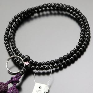 曹洞宗 数珠 女性用 8寸 桜彫り 黒オニキス 正絹2色房 数珠袋付き|nenjyu