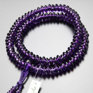 鑑別書付き 天台宗 数珠 女性用 8寸 最上質 紫水晶 特注2色梵天房 nenjyu