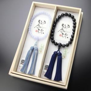 ≪ペア数珠≫ 数珠 男性用(22玉 青虎目石 正絹房)・数珠 女性用(約8ミリ ブルーレース 正絹2色房)ペアセット 数珠袋付き|nenjyu