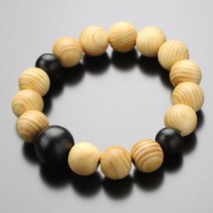 数珠 ブレスレット 槇 黒檀 約12×13ミリ 木製