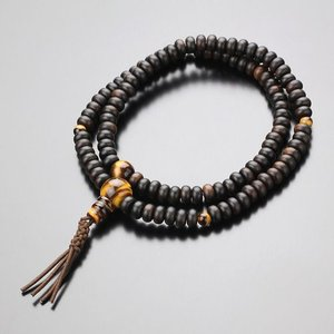 数珠ブレスレット 108玉 臨済宗 縞黒檀(艶消し) 虎目石