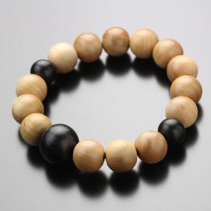 数珠 ブレスレット 桜 黒檀 約12×13ミリ 木製