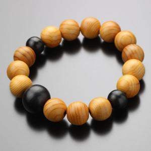 数珠 ブレスレット 一位(イチイ) 黒檀 約12×13ミリ 木製