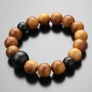 数珠 ブレスレット 欅(ケヤキ) 黒檀 約12×13ミリ 木製