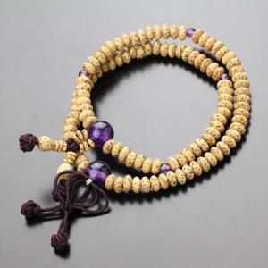 108玉 浄土真宗 数珠ブレスレット 星月菩提樹 紫水晶 腕輪念珠|nenjyu