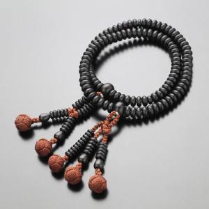 日蓮宗 数珠ブレスレット 108玉 縞黒檀(艶消し) 梵天房