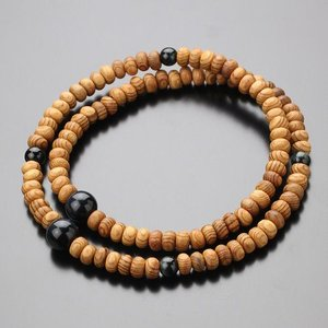 数珠ブレスレット 108玉 みかん玉 屋久杉 青虎目石  天然石|nenjyu