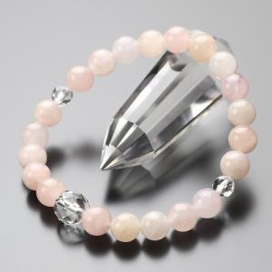 モルガナイト カット水晶 数珠ブレスレット 約8ミリ パワーストーン