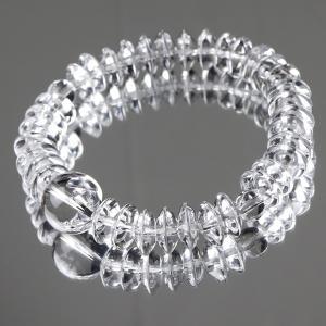 数珠ブレスレット 平玉 本水晶(約5×12ミリ) 腕輪念珠...