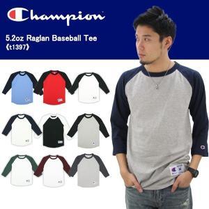 チャンピオン Champion ラグラン ベースボール Tシャツ 5.2oz Raglan Baseball Tee t1397 メンズ 7分袖 Tシャツ[AA]