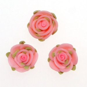デコパーツ レジンパーツ 葉も付いてる2cm大きな樹脂薔薇[d-r3]|neocolle