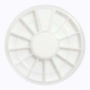 ネイルパーツ ホワイトラインストーンケース12部屋 丸ケース ネイル用品 ネジ収納にも 小物収納容器|neocolle