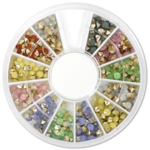 オーロラミルキー系カラー ダイヤモンドカット 3mm ラインストーン12色セット ダイヤカットストーン ジェルネイルパーツ レジンパーツとしても|neocolle