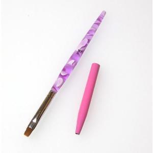 ジェルネイル キャップ付き ジェルブラシ ピンクのジェル筆#6初心者でも塗りやすい細め|neocolle