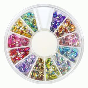 オーロラリーフ型ラインストーン12色セット ABカラー 直径6mm 虹色に光るキラキラカットのラインストーン|neocolle