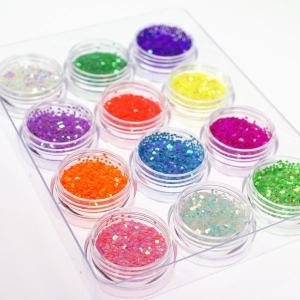 ネイル 六角ホログラム珍しいパステルカラー&蛍光カラーの1mm12色セットケース入り ジェルネイルなどに レジンパーツ neocolle 02