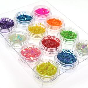 丸ホログラム珍しいパステルカラー&蛍光カラーの2mm12色セットケース入り ジェルネイルなどに|neocolle|02